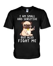 Small and Sensitive Pug V-Neck T-Shirt thumbnail