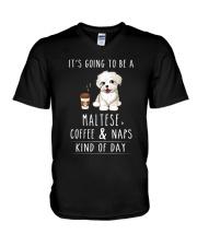 Maltese Coffee and Naps V-Neck T-Shirt thumbnail