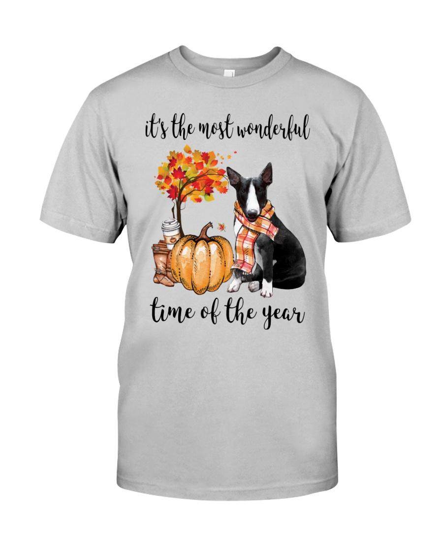 The Most Wonderful Time - Black White Bull Terrier Classic T-Shirt