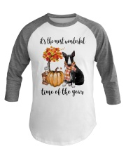 The Most Wonderful Time - Black White Bull Terrier Baseball Tee thumbnail