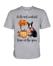 The Most Wonderful Time - Black White Bull Terrier V-Neck T-Shirt thumbnail