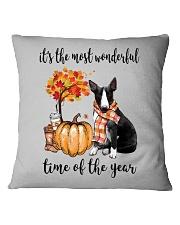 The Most Wonderful Time - Black White Bull Terrier Square Pillowcase thumbnail