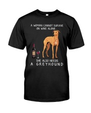 Wine and Greyhound 3 Classic T-Shirt front