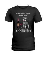 Wine and Schnauzer Man version  Ladies T-Shirt thumbnail