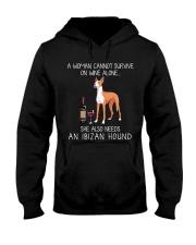 Wine and Ibizan Hound Hooded Sweatshirt thumbnail