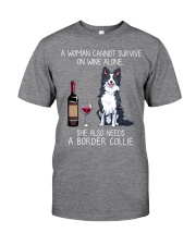 Wine and Border Collie  Classic T-Shirt front
