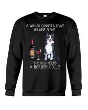 Wine and Border Collie  Crewneck Sweatshirt thumbnail
