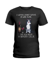 Wine and Border Collie  Ladies T-Shirt thumbnail
