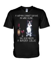 Wine and Border Collie  V-Neck T-Shirt thumbnail
