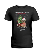 Christmas Wine and Yorkie Ladies T-Shirt thumbnail