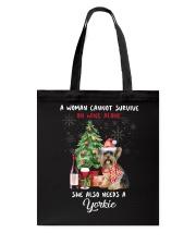 Christmas Wine and Yorkie Tote Bag thumbnail