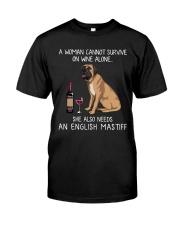 Wine and English Mastiff Classic T-Shirt front