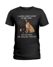 Wine and English Mastiff Ladies T-Shirt thumbnail