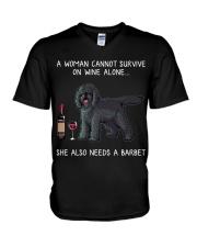 Wine and Barbet V-Neck T-Shirt thumbnail