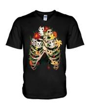 Skeleton Cats V-Neck T-Shirt thumbnail