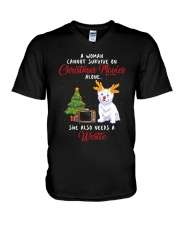 Christmas Movies and Westie V-Neck T-Shirt thumbnail
