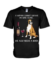 Wine and Boxer V-Neck T-Shirt thumbnail