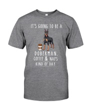 Doberman Coffee and Naps Classic T-Shirt front