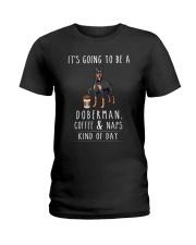 Doberman Coffee and Naps Ladies T-Shirt thumbnail