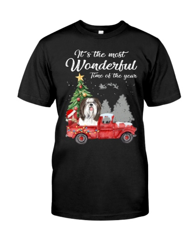 Wonderful Christmas with Truck - Shih Tzu