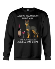 Wine and Australian Kelpie Crewneck Sweatshirt thumbnail