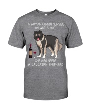 Wine and Caucasian Shepherd Classic T-Shirt front
