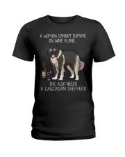 Wine and Caucasian Shepherd Ladies T-Shirt thumbnail