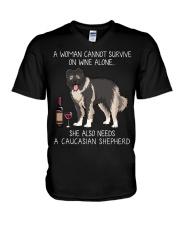 Wine and Caucasian Shepherd V-Neck T-Shirt thumbnail