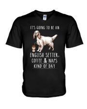 English Setter Coffee and Naps V-Neck T-Shirt thumbnail