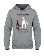 Wine and Dogo Argentino 2 Hooded Sweatshirt tile