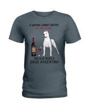 Wine and Dogo Argentino 2 Ladies T-Shirt thumbnail