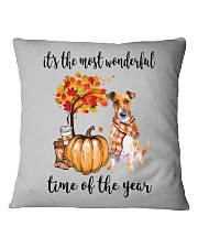 The Most Wonderful Time - Jack Russell Terrier Square Pillowcase thumbnail