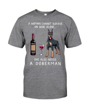 Wine and Doberman Classic T-Shirt front