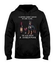 Wine and Doberman Hooded Sweatshirt thumbnail