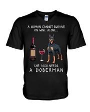 Wine and Doberman V-Neck T-Shirt thumbnail