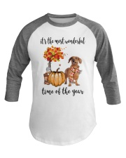 The Most Wonderful Time - Brown Dachshund Baseball Tee tile
