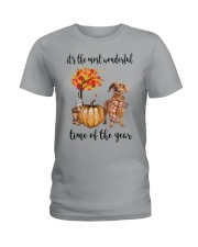 The Most Wonderful Time - Brown Dachshund Ladies T-Shirt thumbnail