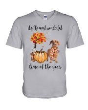The Most Wonderful Time - Brown Dachshund V-Neck T-Shirt tile