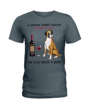 Wine and Boxer 2 Ladies T-Shirt thumbnail