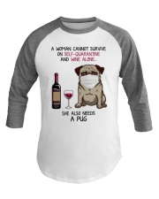 Cannot Survive Alone - Pug Baseball Tee thumbnail