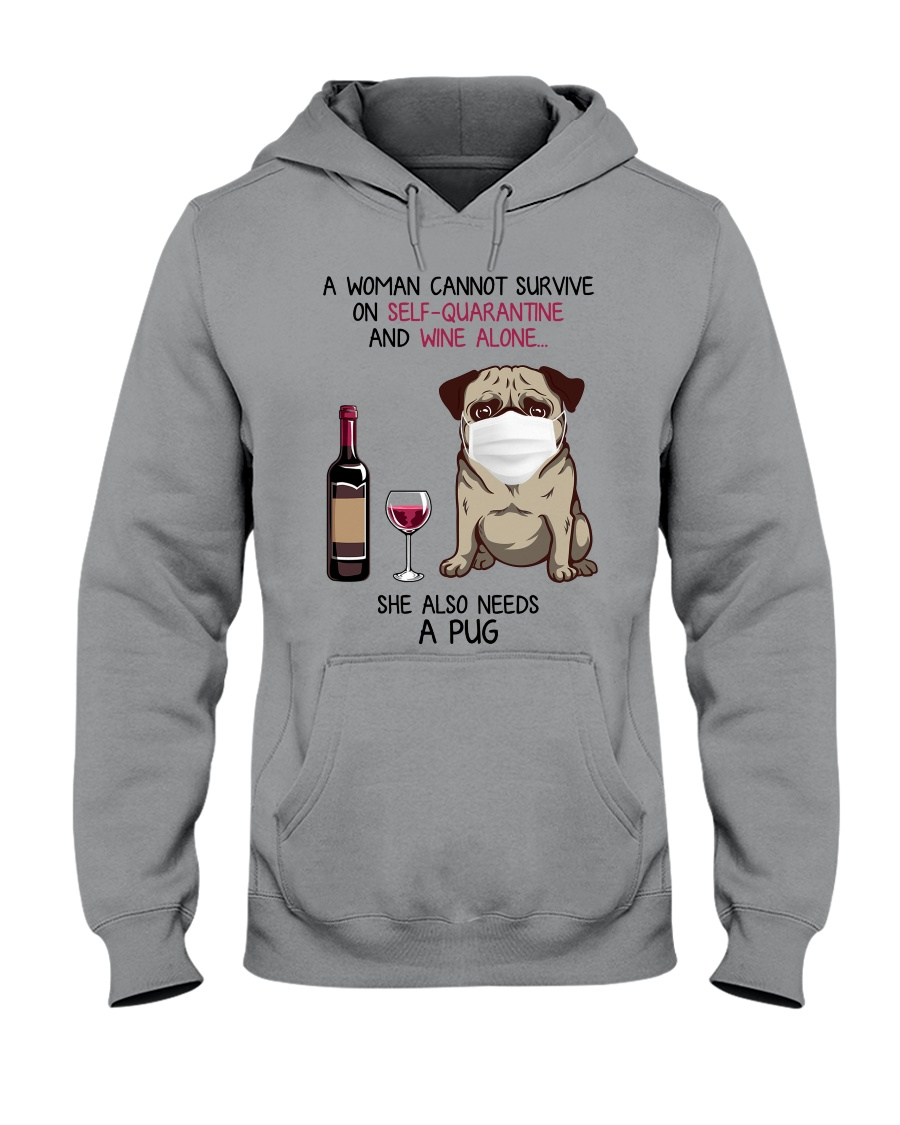 Cannot Survive Alone - Pug Hooded Sweatshirt