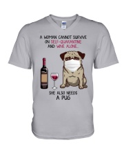 Cannot Survive Alone - Pug V-Neck T-Shirt thumbnail