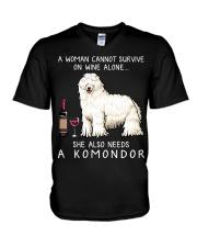 Wine and Komondor V-Neck T-Shirt thumbnail