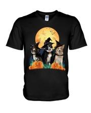 Howloween Border Collie  V-Neck T-Shirt thumbnail