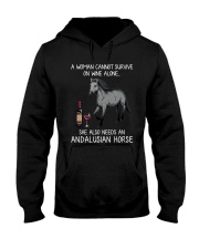 Wine and Andalusian Horse Hooded Sweatshirt thumbnail