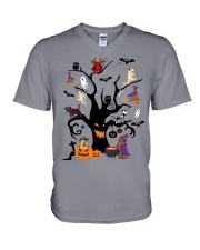 Halloween Dogs Tree V-Neck T-Shirt thumbnail