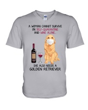 Cannot Survive Alone - Golden Retriever V-Neck T-Shirt tile