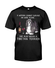 Wine and Tibetan Terrier Classic T-Shirt front