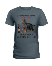 Wine and Gordon Setter 2 Ladies T-Shirt tile