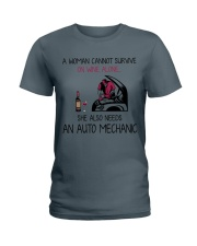 Wine and An Auto Mechanic 2 Ladies T-Shirt thumbnail